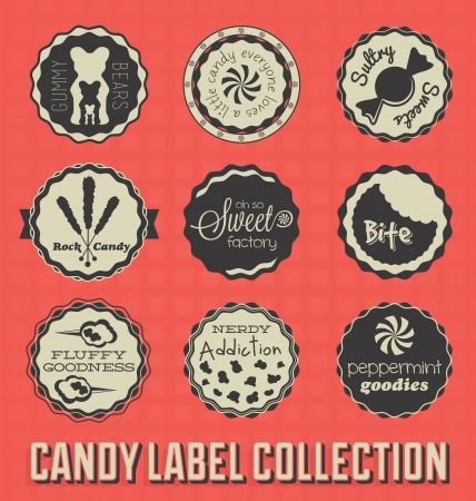 spun sugar: Candy and Sweets Labels and Icons Illustration