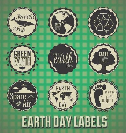 Set: De gelukkige Dag van de Aarde labels en pictogrammen Stock Illustratie
