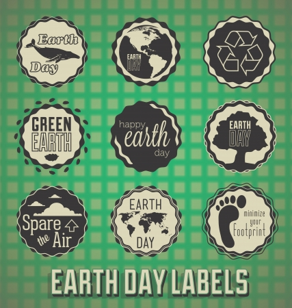 Set: Happy Earth Day Labels and Icons Vector