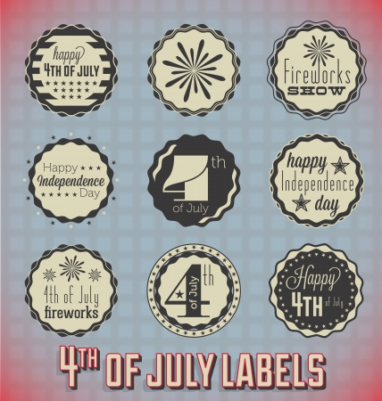 Set: Vintage Fourth of July Labels and Icons Vector