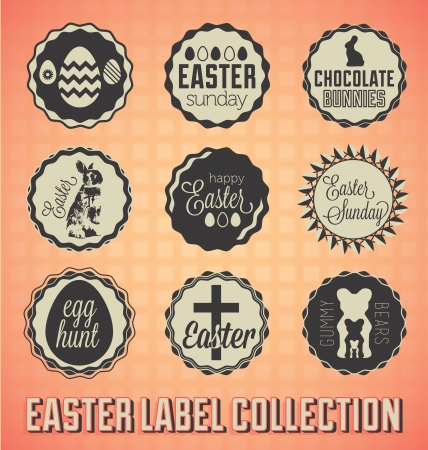 Set: Vintage Easter Sunday Labels and Icons Stock Vector - 18083711