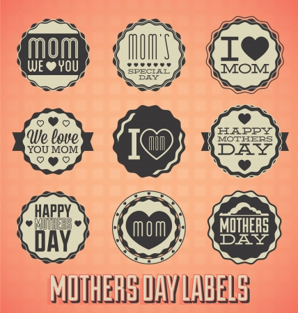 mothers: Set: Vintage Happy Mothers Day Labels and Icons
