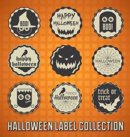 Set: Vintage Halloween szczęśliwi Etykiety i ikony