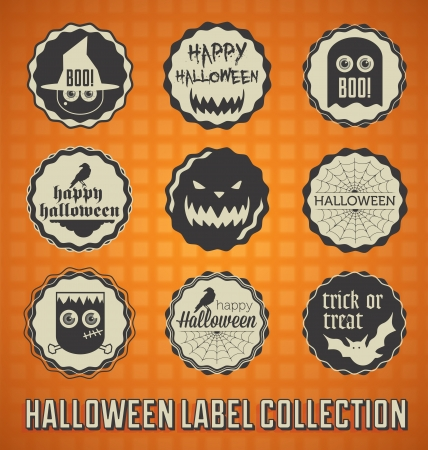Set: Vintage Happy Halloween Labels and Icons Illustration