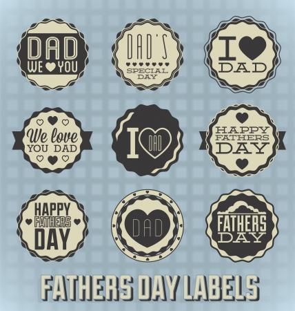 new day: Set: epoca di padri felice Giorno Etichette e icone