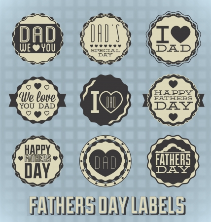 Set: Vintage Happy Fathers Day Labels and Icons Illustration