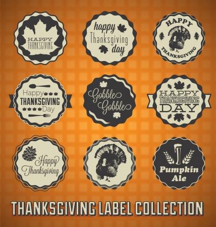 Set: Vintage Szczęśliwe Etykiety Dziękczynienia i Ikony