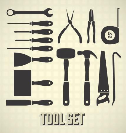 menuisier: Set: Silhouettes d'outils
