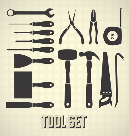 Set: Tool Silhouettes Vector