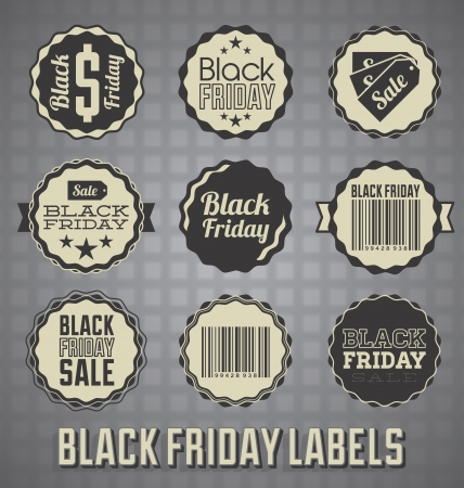 Set: Vintage Black Friday Labels and Icons Vector