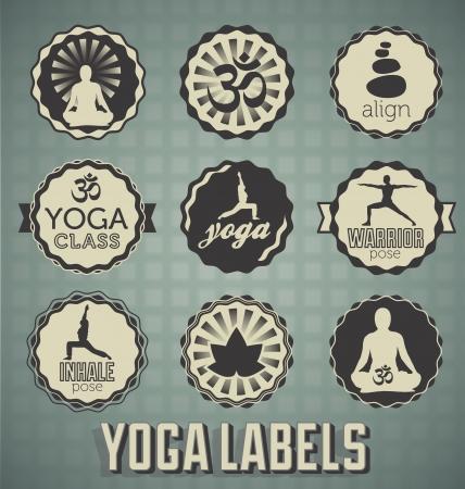 Wektor zestaw etykiet i ikon jogi