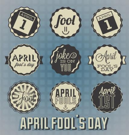 Set  April Fools Labels and Icons Vector