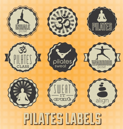 Set: Pilates Labels and Icons Vector