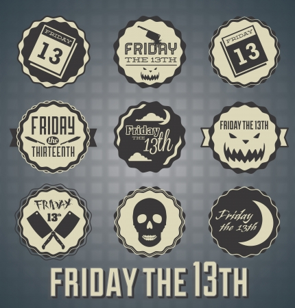 13: Set: Friday the 13th Labels and Icons Illustration