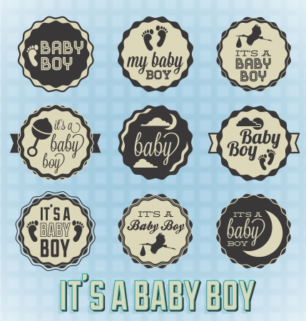 infant: Vector Set  It s a Baby Boy Labels and Icons