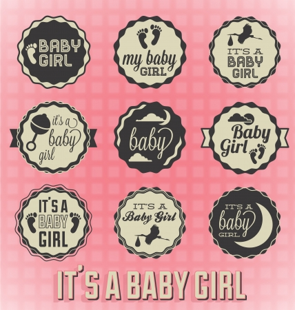 girl: Vector Set  It s a Baby Girl Labels and Icons Illustration
