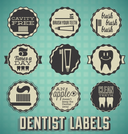 tooth paste: Vector Set: Dentist and Teeth Labels and Icons
