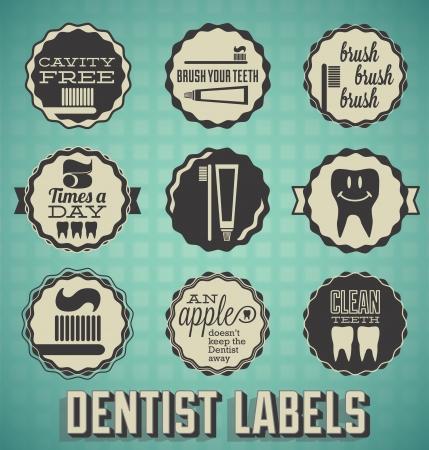 dentista: Vector Set: Las etiquetas del dentista y los dientes e Iconos