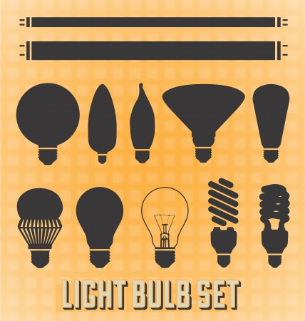 tubos fluorescentes: Vector Conjunto Siluetas de la bombilla