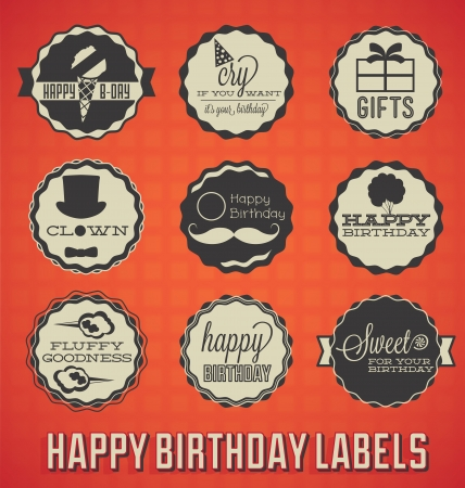 Vintage Happy Birthday Labels and Icons Vector
