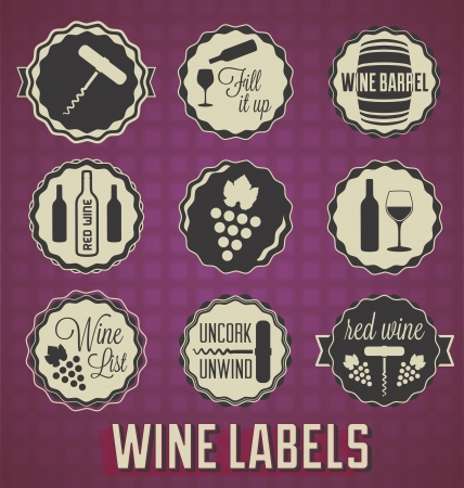 Vintage Wine Labels and Icons Vector