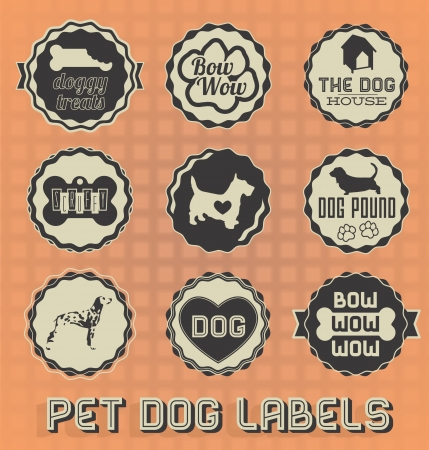pet store: Vintage Pet Dog Labels and Icons