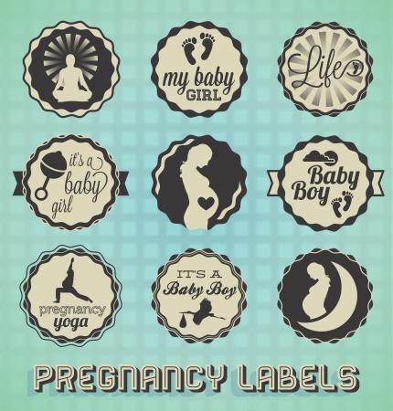 ビンテージ妊娠ラベルとアイコン