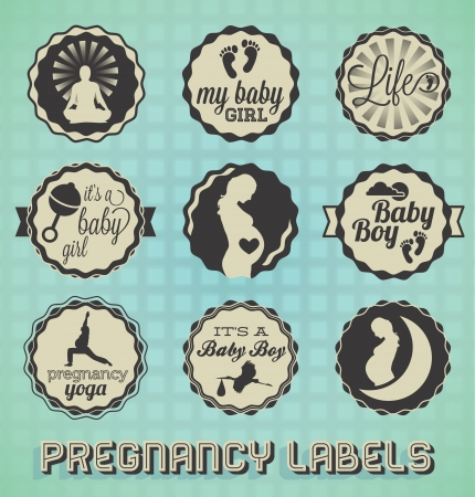 baby stickers: Vintage Pregnancy Labels and Icons