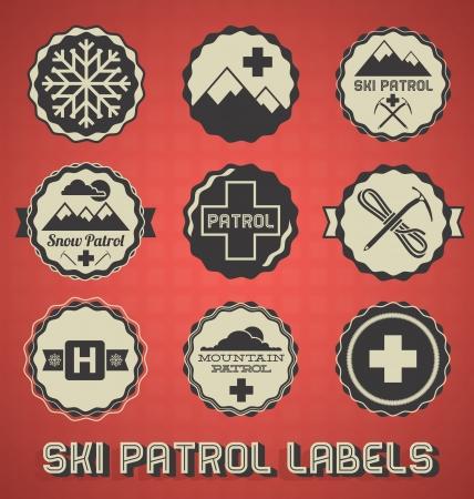 bergsteiger: Weinlese-Ski Patrol Etiketten und-Ikonen