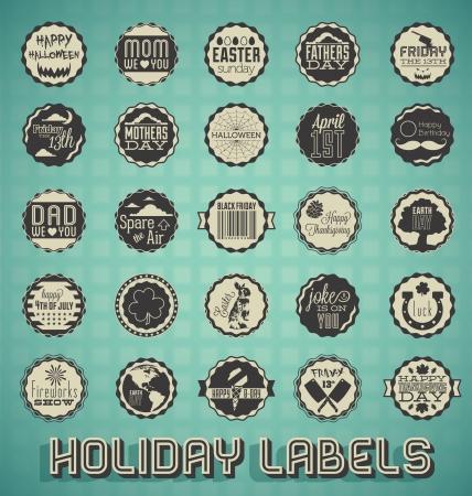 calendario julio: Vector set: vintage Etiquetas Holiday mixtos e Iconos Vectores