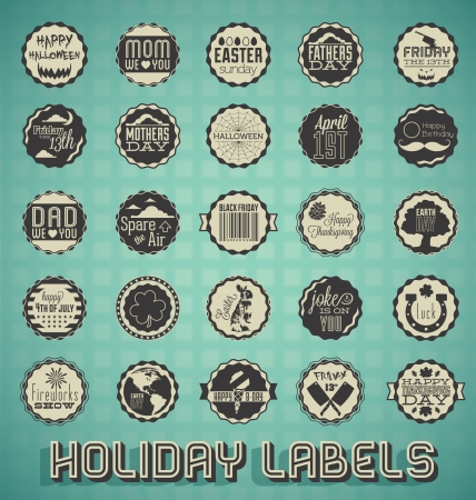 july calendar: Vector Set: Vintage Mixed Holiday Labels and Icons