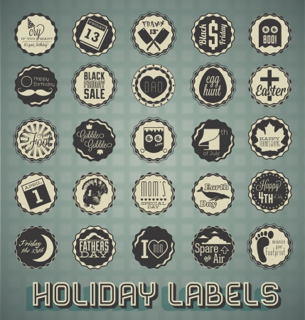 Vintage Mixed Holiday Labels and Icons Illusztráció