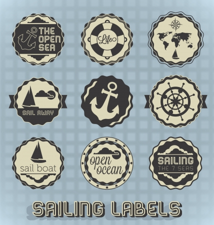 Vintage Sailing Labels and Icons Vectores