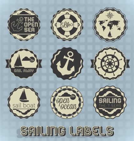Vintage Labels żeglarskie i Ikony