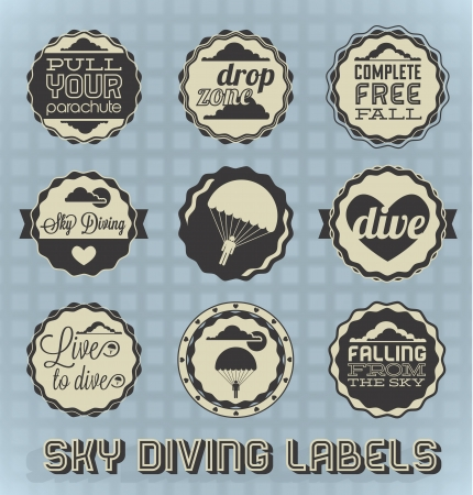 skydiving: Vector Set: Vintage Sky Diving Labels and Icons