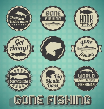 truchas: Vector Set Vintage Gone Fishing etiquetas e iconos