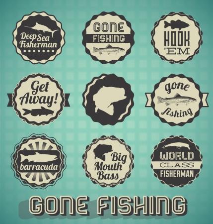hengelsport: Vector Set vintage Gone Fishing Labels en pictogrammen Stock Illustratie