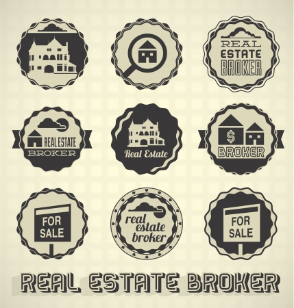 real estate agent: Vector Set: Vintage Real Estate Broker Labels and Icons