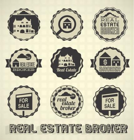 Vector Set: Vintage Real Estate Broker Labels en pictogrammen