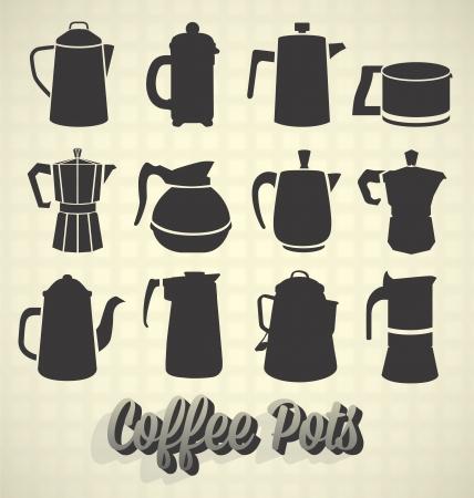 ビンテージ コーヒー鍋シルエット アイコンのベクトルを設定: