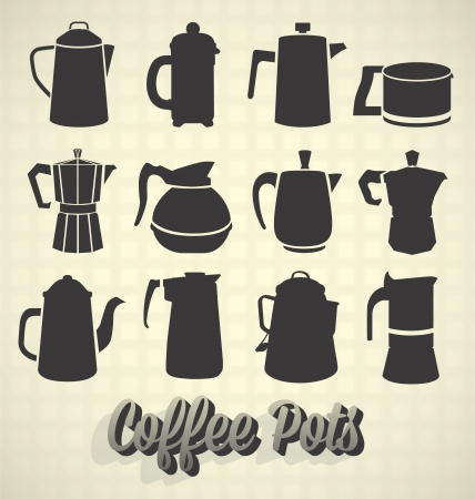 pot: Vector Set: Vintage Coffee Pot Silhouette Icons