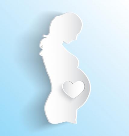 Vector Pregnant Woman Sticker Peeling