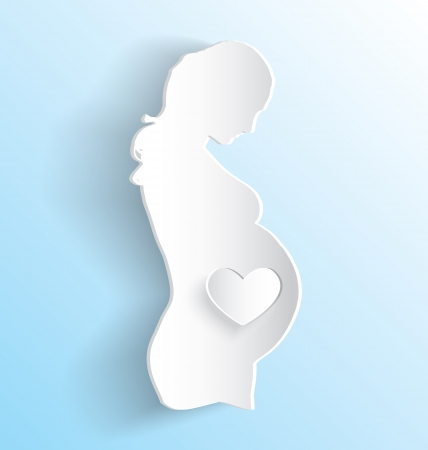 Vector Pregnant Woman Sticker Peeling