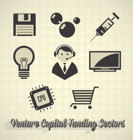 Vector Set: Venture Capital Funding Icons Vector
