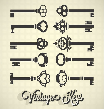 set of keys: Vector Set: Vintage Key Silhouettes Illustration