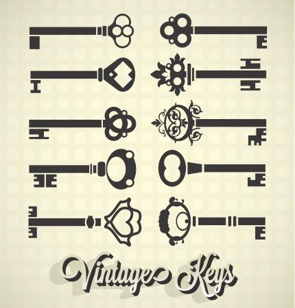 lock and key: Vector Set: Vintage Key Silhouettes Illustration