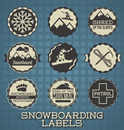 Zestaw Vector: Etykiety Snowboard i ikony