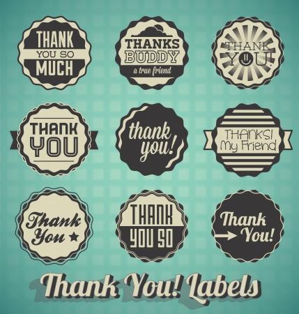 ベクトル セット: ビンテージありがとうメッセージ ラベル
