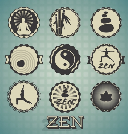 massage stones: Vector Set: Zen Labels