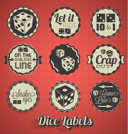 Vintage Dice Labels and Icons Vector